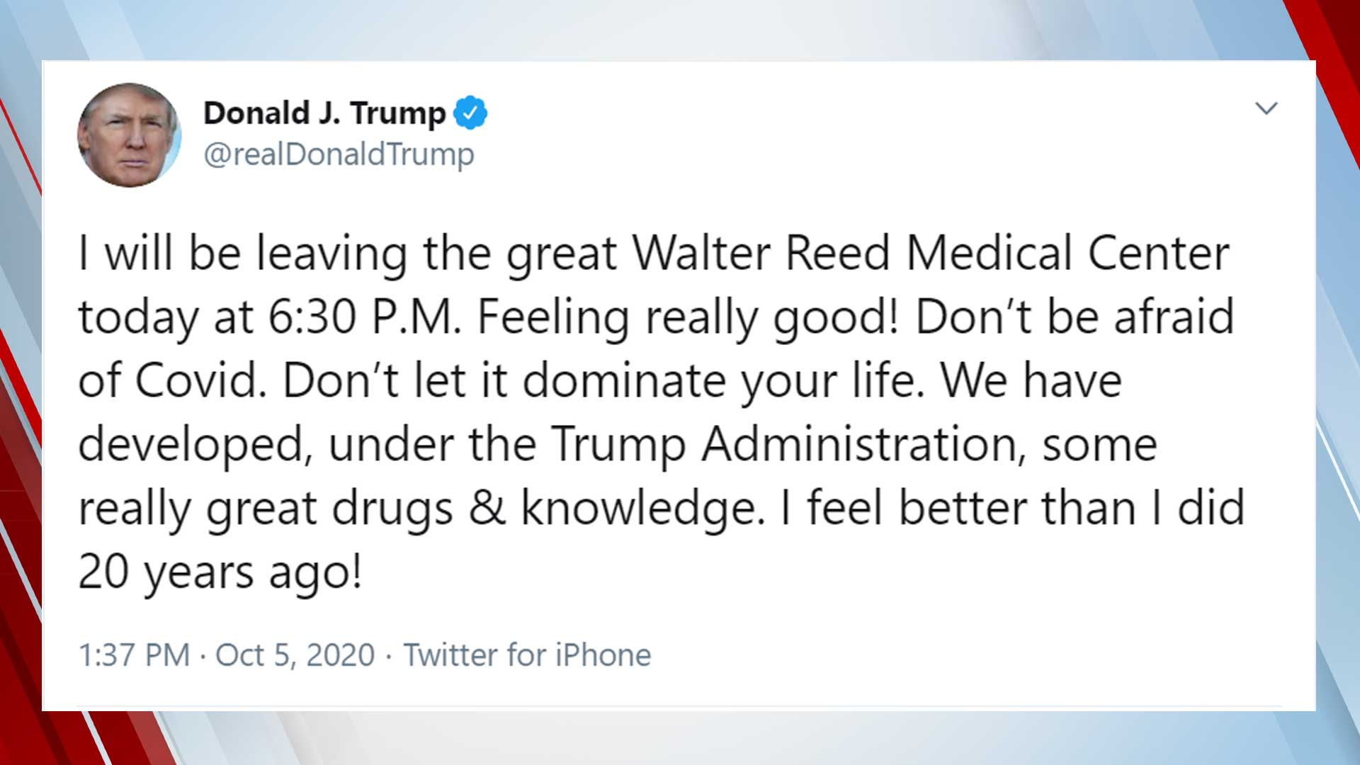 President Trump Tweets He Will Be Discharged From Walter Reed Monday